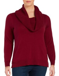 Michael Michael Kors Plus Knit Cowlneck Sweater Cinnabar