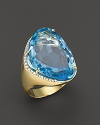 Vianna Brasil 18K Yellow Gold Ring With Blue Topaz And Diamond Accents