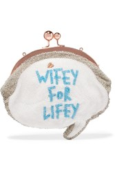 Sophia Webster Wifey For Lifey Beaded Cotton Clutch White