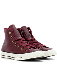 Converse Chuck Taylor All Star Winter Leather Fur High Top Sneakers Red