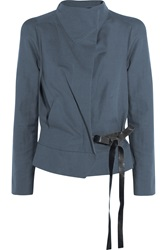 Isabel Marant Belted Cotton And Linen Blend Jacket Blue