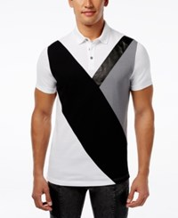 Inc International Concepts Faux Leather Men's Fragmentation Polo Only At Macy's White Pure