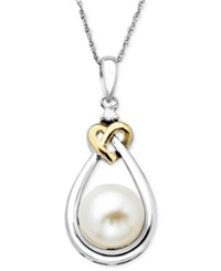 Macy's Pearl And Diamond Pendant 14K Gold And Sterling Silver Cultured Freshwater Pearl And Diamond Accent Heart Pendant