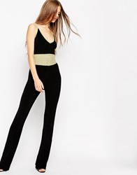 Asos Flared Jumpsuit In Chenille With Metallic Crochet Trims Black