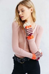 Urban Outfitters Patterned Long Convertible Mitten Maroon