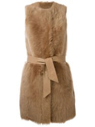 Drome Sleeveless Belted Coat Nude And Neutrals