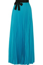 Issa Felicity Pleated Satin Maxi Wrap Skirt Blue