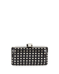 Milly Studded Rectangle Evening Clutch Bag Black Silver