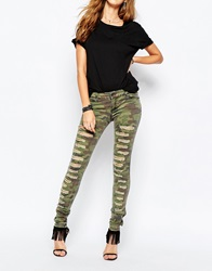 Tripp Nyc Low Rise Skinny Jeans With All Over Rips In Camo Print Green