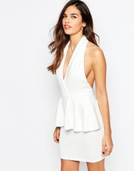 Ax Paris Peplum Dress With Deep V Neck Cream