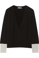 Duffy Two Tone Cashmere Cardigan Black