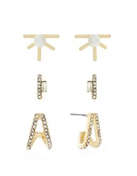 Bcbgeneration Small Scale White Pearl And Pave Earrings Set Of 3 Gold