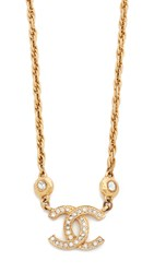 Wgaca Chanel Cc Necklace Previously Owned Gold Crystal