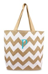 Cathy's Concepts Personalized Chevron Print Jute Tote White White Natural P