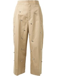 Muveil Embellished Wide Leg Cropped Trousers Brown