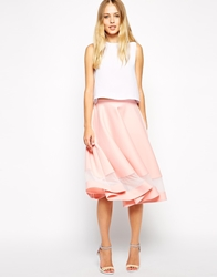 Asos Midi Skirt In Scuba With Sheer Panel Pink