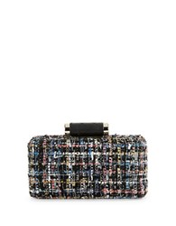 La Regale Metallic Tweed Minaudiere Black