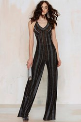 Nasty Gal Can You Feel It Striped Lurex Jumpsuit