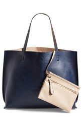 Junior Women's Street Level Reversible Faux Leather Tote And Wristlet Blue Navy Taupe