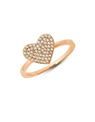 Crislu Simply Pave Sterling Silver And Cubic Zirconia Heart Ring