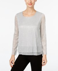 Jm Collection Petite Layered Look Crinkle Tunic Only At Macy's Silver Lurex