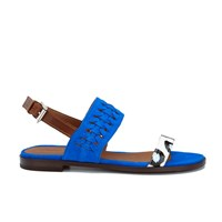 Thakoon Addition Women's Taylor 01 Bubble Snake Suede Two Part Flat Sandals Pacific Blue