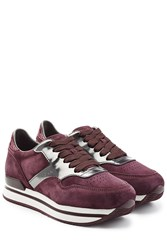 Hogan Suede And Leather Platform Sneakers Red