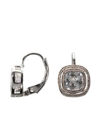 Lord And Taylor Sterling Silver Bezel Set Cubic Zirconia Drop Earrings