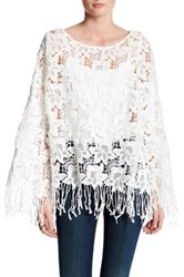 Bb Dakota Halle Lace Yoke Fringe Poncho White