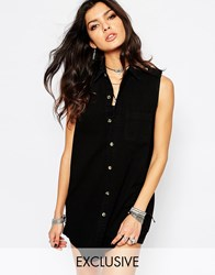Reclaimed Vintage Button Front Tunic Shirt Vest Dress In Denim With Collar Black