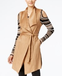 Grace Elements Faux Suede Belted Trench Vest Camel