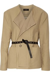 Isabel Marant Kelby Belted Cotton Twill Jacket Nude