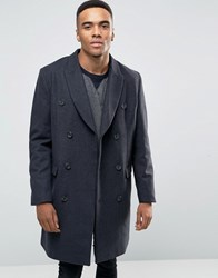 Asos Wool Mix Trench Coat In Grey Marl Grey Marl