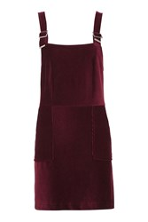 Topshop Corded Velvet Pinafore Dress Oxblood