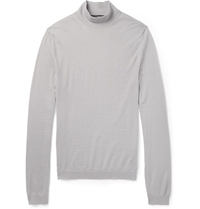 Gucci Fine Knit Cashmere Turtleneck Sweater Gray