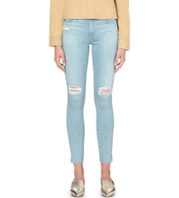 Ag Jeans Distressed Super Skinny Low Rise Lazy Blue