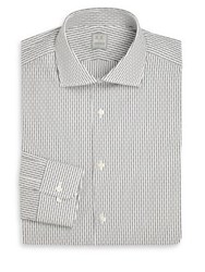 Ike Behar Regular Fit Stripe Dress Shirt Grey