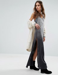 Free People Galaxy Dip Dye Maxi Dress Black Combo