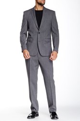 Vince Camuto Medium Grey Fine Donegal Two Button Notch Collar Modern Fit Wool Suit Gray