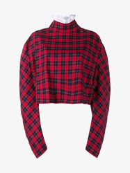 A.W.A.K.E. Ruched Sleeve Check Print Cotton Top Red Multi Coloured White