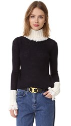 Tory Burch Culver Turtleneck Medium Navy Dark Ivory