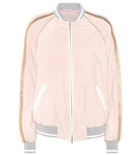 Brunello Cucinelli Suede And Metallic Leather Bomber Jacket Pink