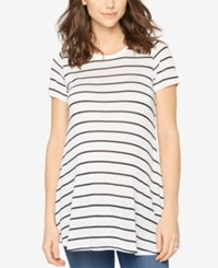 A Pea In The Pod Maternity Striped Scoop Neck Tee White Black