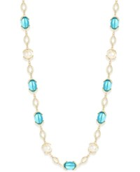 Charter Club Gold Tone Multicolor Stone Long Strand Necklace Only At Macy's Aqua