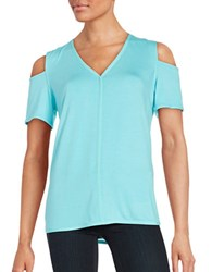 Karl Lagerfeld V Neck Cap Sleeve Cold Shoulder Jersey Top Aqua