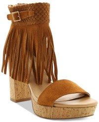 Nanette By Nanette Lepore Vanessa Fringed Platform Sandals Women's Shoes Cognac