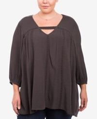 Eyeshadow Trendy Plus Size Gauze Top Charcoal