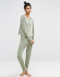 Asos Lace Trim Long Sleeve Tee And Legging Pyjama Set Khaki Green