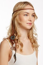 Cara Accessories Leather Braided Feather Headwrap Brown