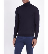 Hugo Boss Slim Fit Wool Turtleneck Jumper Dark Blue